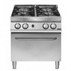 Cocina a gas de 4 fuegos sobre horno gas GN 2/1