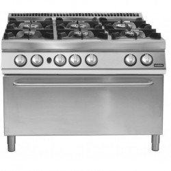 Cocina a gas de 6 fuegos con horno maxi gas