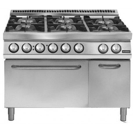 Cocina a gas de 6 fuegos sobre horno el ctrico gn 2 1 for Cocina a gas y electrica