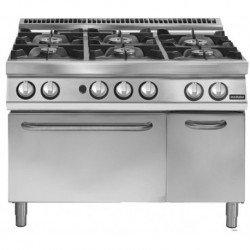 Cocina a gas 6 fuegos sobre horno gas GN 2/1