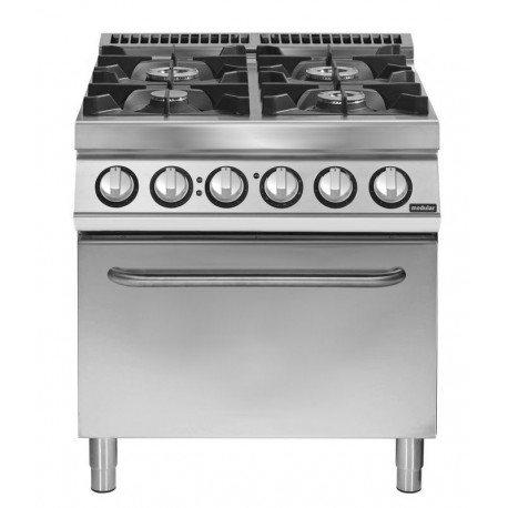 Cocina a gas 4 fuegos sobre horno eléctrico convección GN 2/1