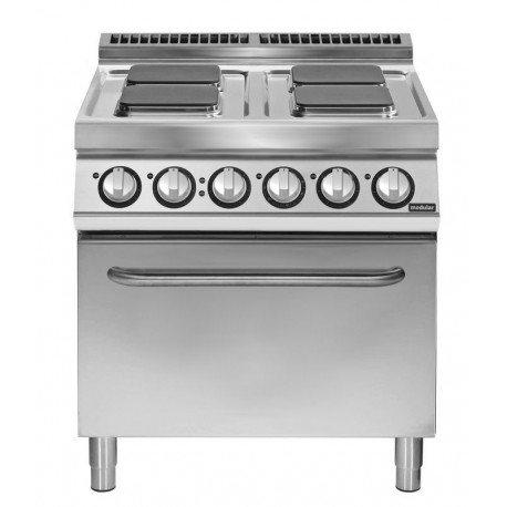 Cocina eléctrica 4 fuegos cuadrados con horno eléctrico convección GN