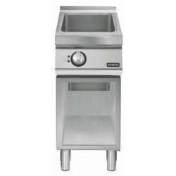 Electric multi-function bratt pan on open cabinet