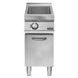 Electric multi-function bratt pan on cabinet with door