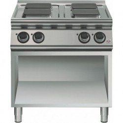 Cocina eléctrica sobre base abierta 4 fuegos cuadrados