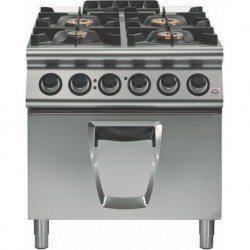 Cocina a gas 4 fuegos con horno eléctrico GN 2/1