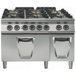 Cocina a gas 6 fuegos con horno eléctrico convección GN 2/1