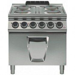 Cocina eléctrica 4 fuegos cuadrados con horno eléctrico a convección GN
