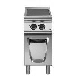 Cocina eléctrica con 2 planchas basculantes sobre base con puertas