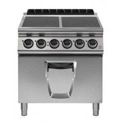 Cocina vitrocerámica 4 zonas de cocción con horno eléctrico GN 2/1