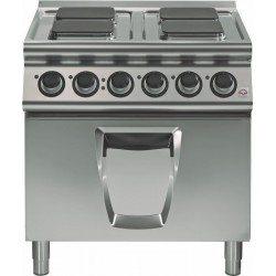 Cocina eléctrica 4 fuegos  cuadrados con horno eléctrico  convección GN 2/1