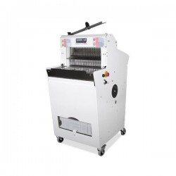 Cortadora de pan semiautomática con base y zona de carga plana